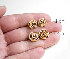 zimtrollen fimo polymer clay miniature food candy fabulous cinnamonroll roll cinamon gebäck ohrstecker schmuck