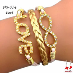 Bracelet infini love doré avec strass