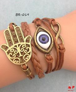 Bracelet infini brun main de Fatma doré, oeil et infini