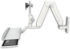 ASELP5216-WT-KUP : ガススプリング内蔵 昇降式 壁面固定ロングアーム ディスプレイキーボード用