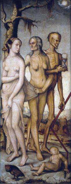 Les Trois Âges de la Vie de Hans Baldung, Huile sur toile, 151 × 61 cm, 1510,  Musée du Prado, Madrid.