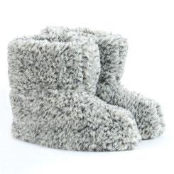 Gros chaussons véritable bamboucha en laine naturellee de mouton gris chiné dt collection france fourré lainage homme femme only mouton