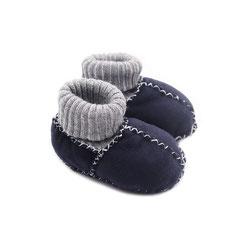 Chaussons ballerines chaussettes chaussette en peau d'agneau mouton peau lainée fourré fourrure naturelle dessus cuir élastique bleu marine garçon cadeau naissance idée