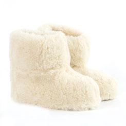 Chaussons véritable vrai BAMBOUCHA en laine naturelle de mouton fourré gros chaussons bottines souples écru blanc