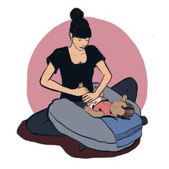 Atelier de massage, dessin massage bébé