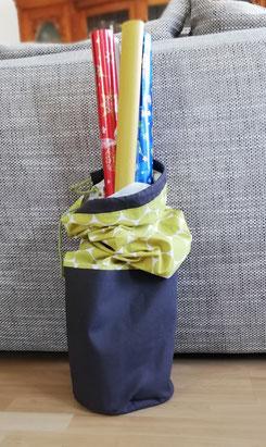 Tasche aus Baumwolle gold, Dots und grauem Canvas,  für Geschenkpapier und Geschenkband