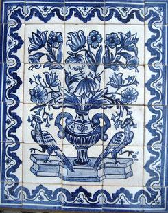 """""""Blumenvase mit Vögel mit Bordüre"""" blau-weiß"""" Art.-Nr.: PN-133, Größe:70x56cm"""