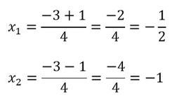 Lösungen der Gleichung durch die Mitternachtsformel