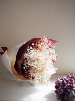 かすみ草,プリザーブドフラワー,花束,結婚式両親贈呈