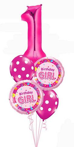 Ballon Luftballon Heliumballon Folienballon Birthday Girl Mädchen Geburtstag Bouquet Ballonstrauß Strauß Zahl 1 2 3 4 5 6 pink magenta Punkte Überraschung Mitbringsel Deko Dekoration Kindergeburtstag