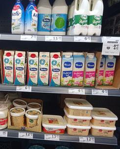 Milchprodukte in einem Supermarkt in der Türkei