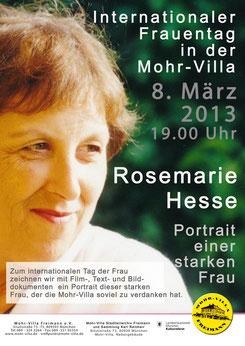 Rosemarie Hesse - Portrait einer starken Frau - 8. März 2013 zum Weltfrauentag in der Mohr-Villa