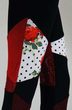 Leggings pantalons rouge noir tissu recyclé upcycling fleuri roses pois motif