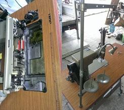 本縫い自動糸切り工業用ミシンJUKI DDL-505 油受け糸立て付近