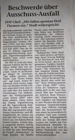 Artikel der Stimberg Zeitung vom 8.2.2019