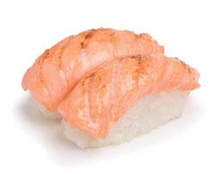 1 Shushi saumon présenté avec des baguettes japonaises inox