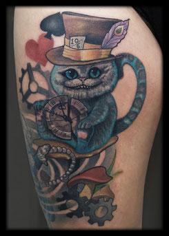 tattoo artist nrw neo traditional Alice Wonderland Cat