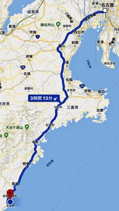 名古屋から太地町への地図