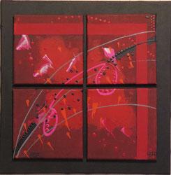 carré d'arcs. tableau. abstrait. abstraction
