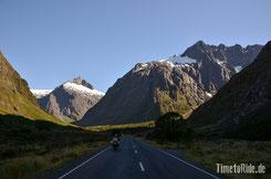 Neuseeland - Motorrad - Reise - Strecke zum Milford Sound
