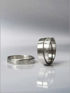 Wedding ring - hammered white gold - Nelly Chemin