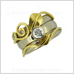 Leaf Wedding & Engagement Ring Set