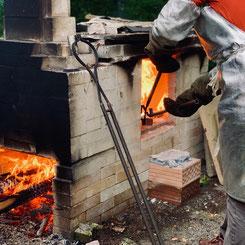 Rakukeramik - Keramikofen, Ausschmelzen der Glasur