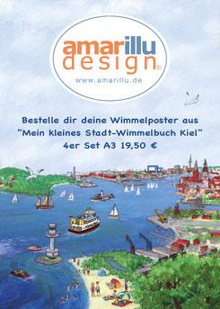 """Bestelle dir deine Wimmelposter aus  """"Mein kleines Stadt-Wimmelbuch Kiel""""4er Set A3 19,50 €"""
