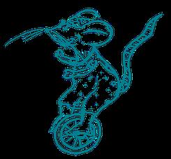 eine gemalte Buntmaus fährt Einrad