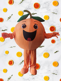 location animation mascotte fruit orange