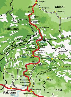 Verlauf des Karakorum Highway (wikipedia, Gert Wrigge & Ilja Gerhardt)