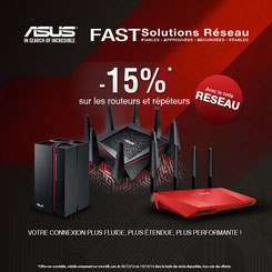 Jusqu'au 19/12/2016, 15% de réduction sur les routeurs et répéteurs ASUS, avec le code RESEAU !