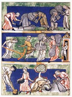 Speculum Virginum de Conrad de Hirschau, 1190, Trèves (Bonn, Rheinisches Landesmus., ms. 15328). Conditions féminines et métaphores rurales