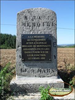 Stèle des gendarmes acier et auzolle à Labesserette (Polvrières).