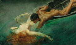 Giulio Aristide Sartorio  La sirena, 1893  Olio su tela applicata su tavola, 71 x 142 cm  Torino, Gam - Galleria Civica d'Arte Moderna e Contemporanea