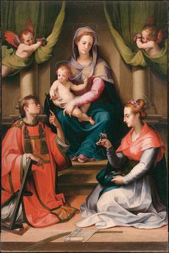 Carlo Portelli Madonna col Bambino, san Lorenzo e santa Cecilia 1540-1545 Tavola San Casciano in Val di Pesa (Firenze), pieve di Santa Cecilia a Decimo