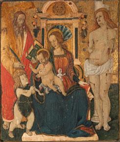 Madonna con Bambino, san Giovannino e santi Andrea e Sebastiano, XVI secolo. Configno, frazione di Amatrice, chiesa di Sant'Andrea Foto Enrico Ferri