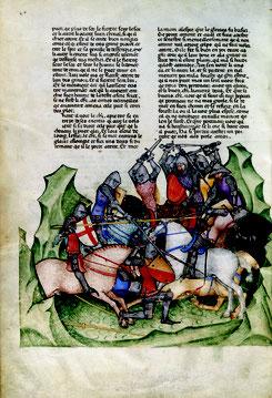 Gautier Map: Lancillotto del lago, la ricerca del Sacro Graal, la morte di Artù, XIV sec. Parigi, Bibliothèque nationale de France