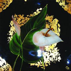 Peinture sur verre Arums