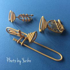 ワイヤークラフトで作成の金管楽器3点