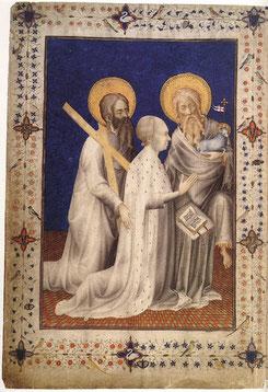 Duc de Berry en prière.Par Unknown Miniaturist, French (active 1380-1390) — Web Gallery of Art.Image  Info about artwork.https://commons.wikimedia.org