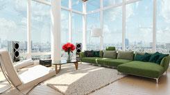 Modernes Wohnzimmer mit bodentiefen Fenstern gestalten, um sich zu Entspannen nach Feng Shui