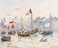 """Andre Hambourg """" Fête de la mer à Honfleur """" Huile sur toile   60 x 73 cm"""