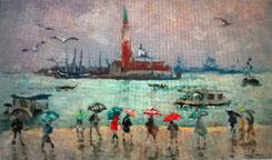 """Andre Hambourg """" Pluie à Venise """" 1968 Huile sur toile  27 x 46 cm"""