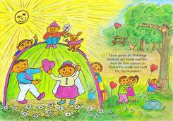 Zweite Doppelseite (Seiten 4-5): (Text) Die Pinkilongs spielen Hochzeit. Siehst Du die Gans, die Eule und die Maus? Wie viele Vögel zählst Du? Was machen die Pinkilongs?