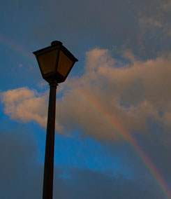 "A rainbow we discovered on a ""Night-Night Bike Ride"""