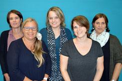 Angelika Breig (neu, Finanzen) und die Spielgruppenleiterinnen Chantal Kurz, Barbara Flükiger, Michaela Bucher und Nicole Altorfer (v. links)