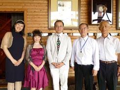 左から 田川珠帆さん、柳川、高橋明治さん、信州の滝沢様と村松様。