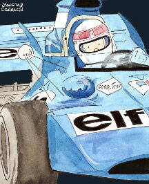 Jackie Stewart by Muneta & Cerracin - Jackie Stewart en Clermont-Ferrand en 1972 a los mandos de un Tyrrell 003 Ford Cosworth