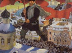 Il bolscevico di Boris Kustodiev, 1920. Dipinto simbolista dal contenuto quasi fiabesco